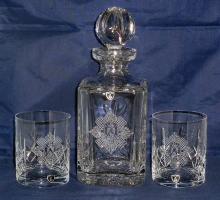 Royal Scots - Crystal Cut Decanter & Glass Set
